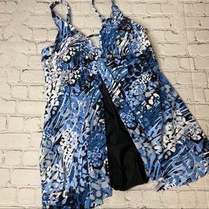 Croft & Barrow One Piece Swim Dress Blue Black 16